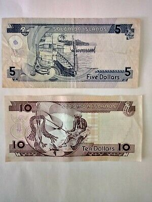 Circulated 5 & 10 Solomon Islands Notes. Ideal For An Avid Note Collector.