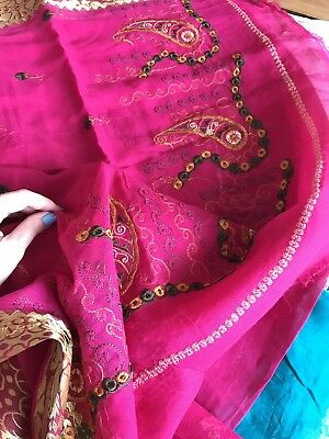 Saree Lot Pink And Green With Hand Emroidery Cotton Authentic From Vrindavan