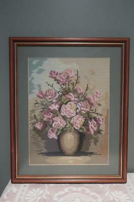 Large Completed Wool Tapestry - Floral - Professionally Framed - Home Decor -Vgc