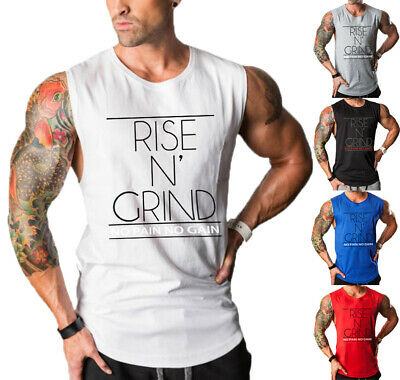Men's GYM Sleeveless Tank Top T-Shirt Bodybuilding Sports Letter Vest Muscle US