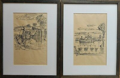 PAIR Boating Scenes. Ink & Wash by listed Yorkshire artist Arthur Kitching 1973