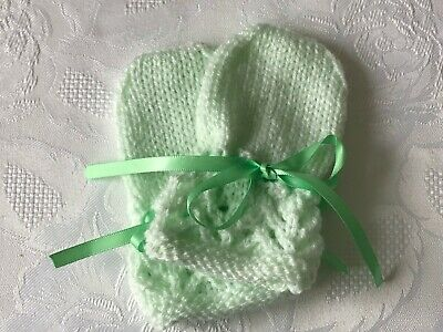 New Hand Knitted Baby Girl's Mittens, Mint Green  Fits 0-3 Months