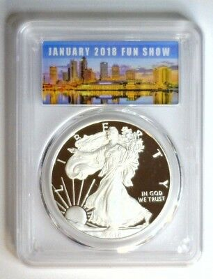 2018-W Pcgs Pr70 Proof Silver Eagle First Day Issue Fun Show 70 Live #71
