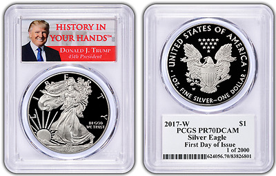 2017-W TRUMP PCGS PR70 PROOF Silver Eagle FIRST DAY ISSUE 1 OF 2000 ~