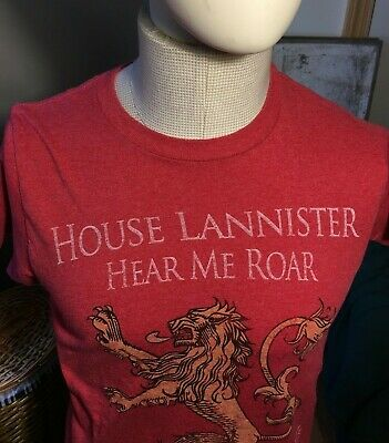 HOUSE LANNISTER T-Shirt - Lion Emblem, Game of Thrones, HBO, Red - Adult Small
