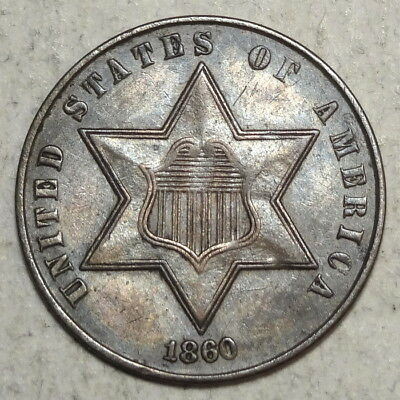 1860 Three Cent Silver, Type 3, Almost Uncirculated, Civil War Date   0307-18