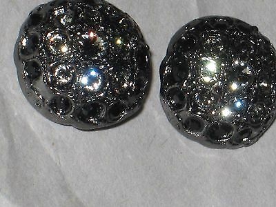 CHANEL 2 CC LOGO FRONT smoky RHINESTONES METAL BUTTONS  12 MM  NEW LOT 2