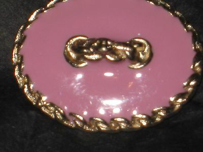 CHANEL  CC LOGO FRONT AUTH GOLD LIGHT PINK ENAMEL BUTTON TAG 16 x 12 MM emblum