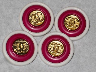 Chanel  4 Gold  Metal Cc Logo Front Dark Pink  White Resin  Button  18 Mm New