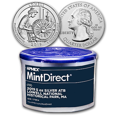 2019 5 oz Silver ATB Lowell National (10-Coin MintDirect® Tube) - SKU#171814