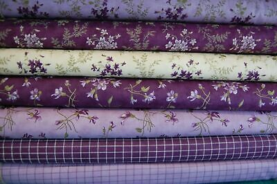 Jan Patek/Moda 'Sweet Violet' 100% Cotton Fabric FQ/M Purple Flower/Floral/Check