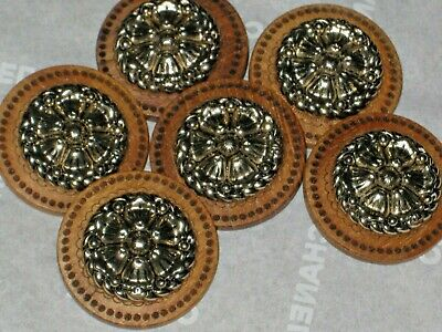 CHANEL AUTH. 6 GOLD METAL CC LOGO FRONT brown WOODSY BUTTONS 24 MM NEW lot 6