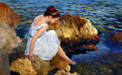 CHENPAT446 beautiful girl washing foot art seaside oil painting on canvas