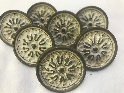 Set of 7 Vintage Antique Brass-Wte Flower Drawer Cabinet Pull Knob Handles Large