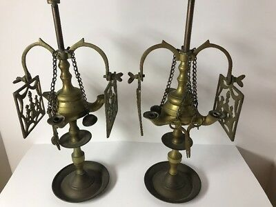 Rare PAIR Antique Brass Lucerne Whale Olive OIL Lamp Figural Shades Chatalaine
