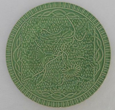 "Bordallo Pinheiro Green MORNING GLORY Dinner Plate 9 5/8"" Portugal A2"