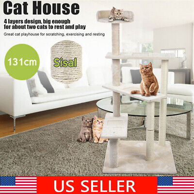131CM White Pet Cat Tree Play Tower Bed Furniture Scratch Post Tunnel Toy Rack