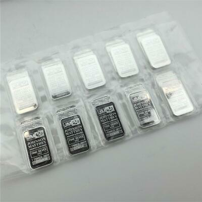 20 x 1oz Johnson Matthey .999 Silver Bars in Plastic w/ Individual Serial Number
