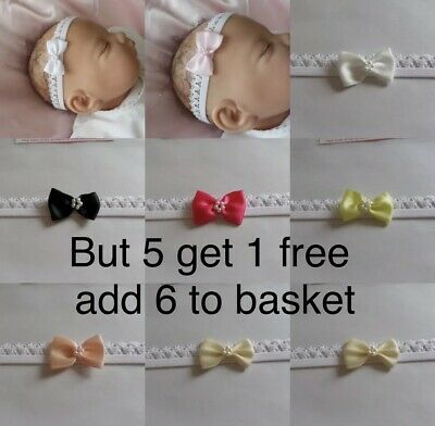 Baby Headband white lace elastic small bow lots of colours