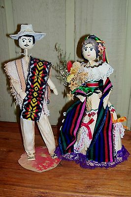 Vintage Mexican Artisan Crafted Folk Art Corn Husk Dolls