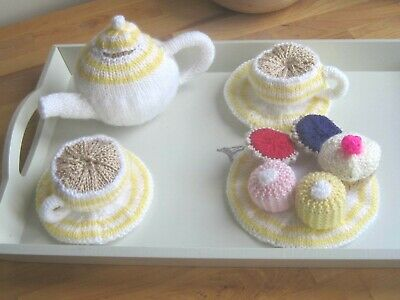 Child's Toy Hand Knitted Easter Tea Set.  Teapot, Buns, Tarts. Display?