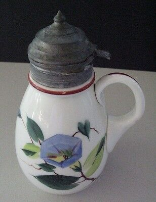 Antique Milk Glass Syrup Pitcher W/ Hand Painted Morning Glories & Pewter Lid