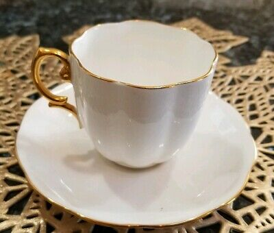 Royal Albert Cup And Saucer White With Gold Trim Bone China