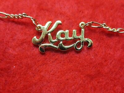 14KT GOLD EP 2MM FIGARO ANKLET OR NECKLACE WITH THE NAME MARIE CHARM PENDANT