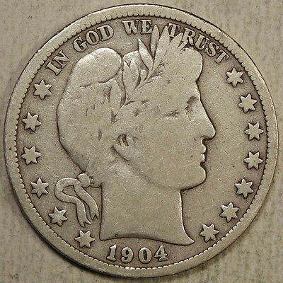 1904-S Barber Half Dollar, True Very Good+, SCARCE Better Date  0222-49