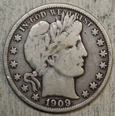 1909-O Barber Half Dollar, Better Date, Fine with Full Liberty   0205-16