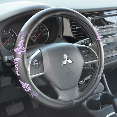 PU Leather Beautiful Purple Butterfly Steering Wheel Cover for Car Truck SUV