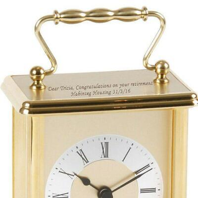 Personalised Wm Widdop Gold Coloured Carriage Clock with Roman Numeral Dial