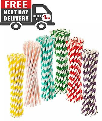 "250Pcs Paper Straws Eco Friendly Biodegradable Drinking Straws 8"" Assorted color"