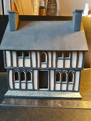 1/48th scale miniature Tudor style dolls house built decorated and furnished