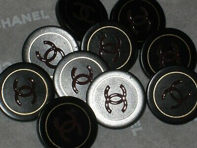 CHANEL 10 Maroon CC LOGO GOLD BLACK  RESIN BUTTONS  18 MM/ UNDER 3/4  LOT 10