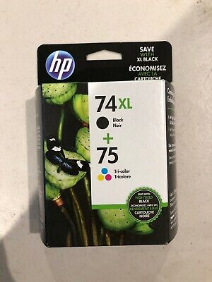 HP 74XL/75 Combo Pack High Capacity Black and Tricolor Ink Cartridges CZ139FN