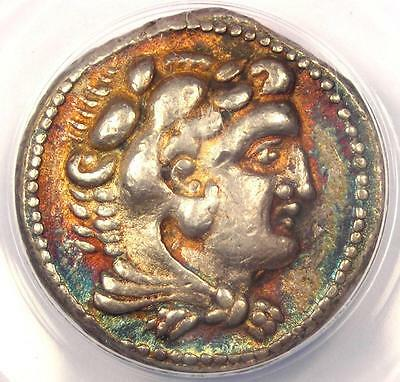 Alexander the Great III AR Tetradrachm Coin 325-324 BC Ake. ANACS XF40 - Rainbow