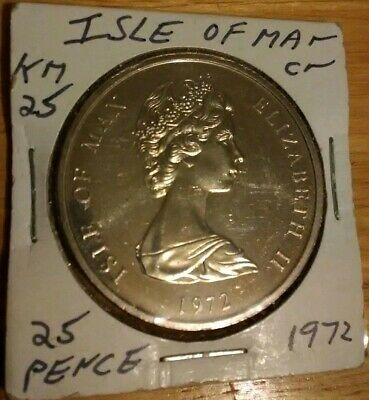 1972 Isle of Man Crown Elizabeth II silver wedding anniversary 25 pence km#25