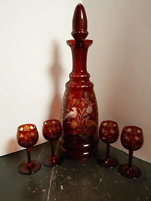 Vintage Bohemian Ruby Cut To Clear (5) Pc. Cordial Decanter Set Excellent Cond