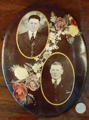 Antiqu Mourning Photograph Pre-Post Mortem Brothers Sons Celluloid Memory Plaque