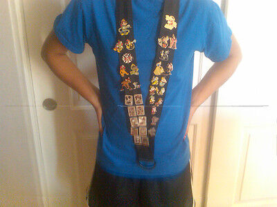 """Heavy Duty Large Lanyard For Disney Pin Extra Wide 2"""" Strap Black Jumbo Pins Fit"""