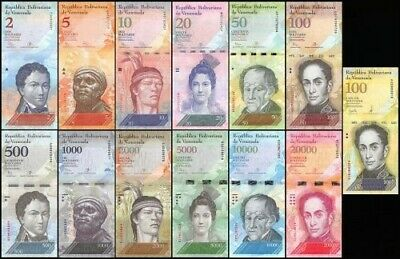 Venezuela Lot de 13 billets 2-100,000 Bolivares  Full Set, 2007-2017 UNC
