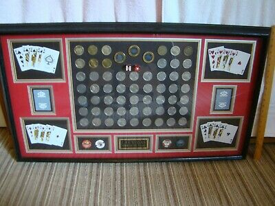 Las Vegas Framed Casino Slot Tokens ,  Playing Cards, and Dice Display *UNIQUE*