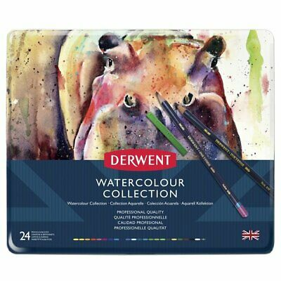 DERWENT WATERCOLOUR COLLECTION TIN of water-soluble, 24 Pencils