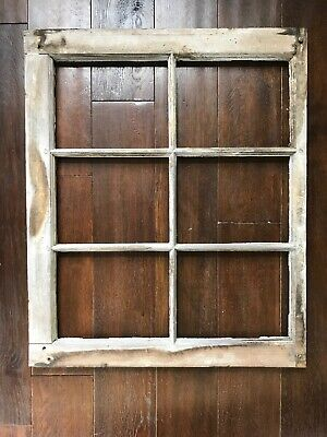 "VINTAGE SASH ANTIQUE WOOD WINDOW No Glass FRAME WEDDING DISTRESSED 21"" - 25"""