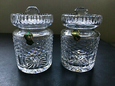 """PAIR 4 1/4"""" Waterford CRYSTAL CONDIMENT JAM JELLY JARS  EXCELLENT NO RESERVE!"""