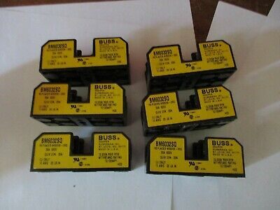 LOT OF 6 Cooper Bussman BM6032SQ Buss Fuse Block 30A 600V Fuse Holder