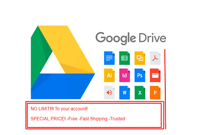 Google Drive (Gmail) - NO LIMIT TO YOUR ACCOUNT! - NO CAPACITY LIMIT!