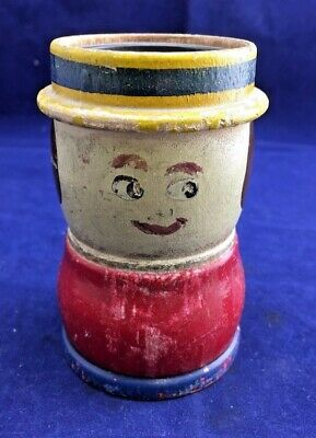 Primitive Hand Painted Wood Toy Still Barrel Shaped Doll Bank  (F11)