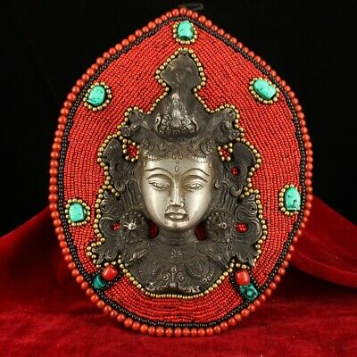 Collect China Old Tibet Silver & Turquoise Carve Sun Goddess Auspicious Statue